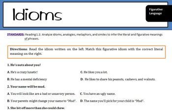 Idioms: Practice identifying meaning of figurative language Idioms