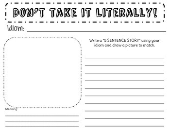 Idioms Practice or Assessment Worksheet- Don't take it literally!