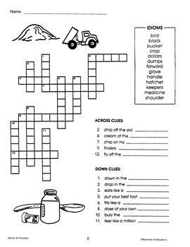 Idioms, Proverbs, Similes, & Analogies: Crossword Puzzles