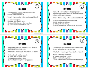 Idioms Task Cards and Game