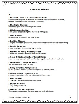 Idioms - Teacher Resource Guide and Student Activity