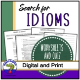 Idioms Distance Learning Worksheets - Find the Idioms in t