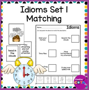 Idioms Set 1 Matching Cards and Worksheets