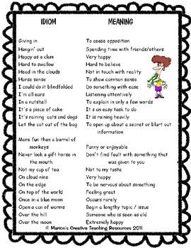 Idioms Set {Anchor Chart, Displays, Games, Activities}