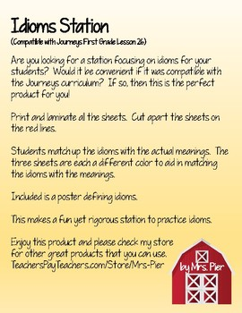 Idioms Station (Compatible with Journeys First Grade Lesson 26)