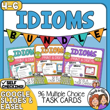 Idioms Task Cards: 3 SET BUNDLE (96 Cards Total) Color and B&W