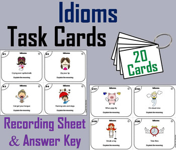 Idioms Task Cards 3rd 4th 5th 6th 7th Grade Figurative Language Activity