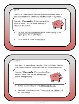 Idioms Task Cards - Flying Pigs