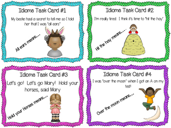EDITABLE Idiom Task Cards & Cooperative Learning Activities for Task Cards