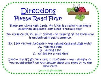 Idioms Task Cards for Journeys 3rd Grade