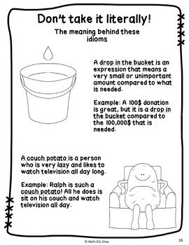 Idioms ESL - Task cards, worksheets & activities