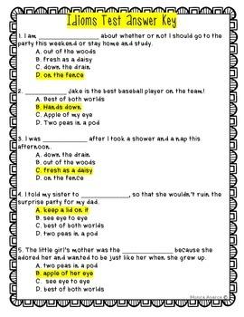 Idioms Test (L.4.5b and L.5.5b)