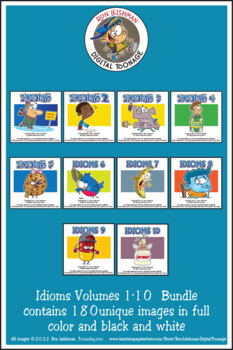 Idioms Volumes 1-6 Cartoon Clipart Bundle: Idioms cartoons for all grades