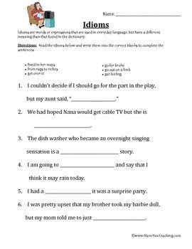 Idioms Worksheet