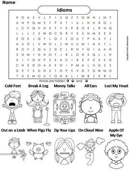 Idioms Worksheet/ Color-In Word Search 2nd 3rd 4th 5th 6th 7th Grade