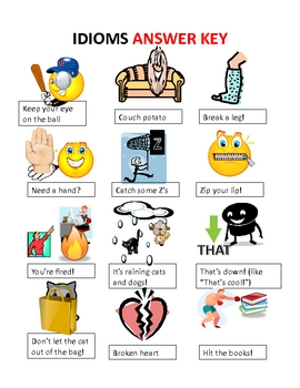 idioms worksheet match idioms to pictures by monica lukins tpt. Black Bedroom Furniture Sets. Home Design Ideas