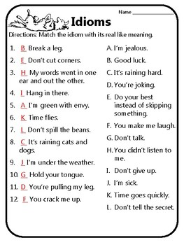 Idioms Worksheet Meaning of Idioms Idioms Practice Reading Wonder 5.2 Practice 3