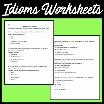 Idioms Worksheet (Multiple Choice)