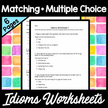 Idioms Worksheet Matching | Teachers Pay Teachers