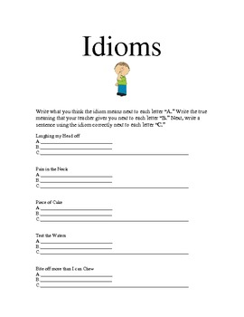 Idioms Worksheet and Poster Directions/Sample