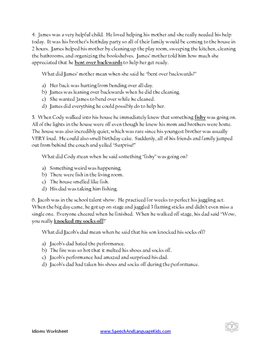 Idioms Worksheets - 20 Multiple Choice Questions