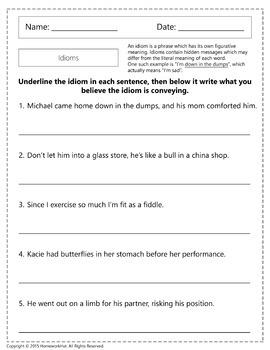 L.4.5.B - Idioms Worksheets