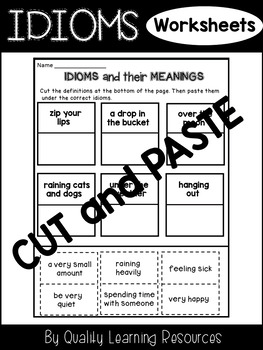 Idioms Worksheets Cut and Paste