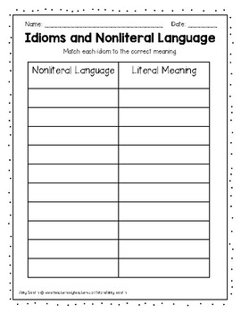 Idioms and Nonliteral Language Grammar Center