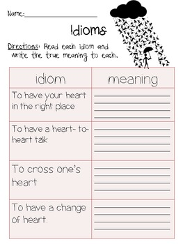 Idioms and meanings 2nd grade worksheet by Amanda Patterson | TpT