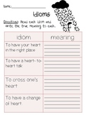 Idioms and meanings 2nd grade worksheet