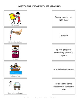 Idioms and their Meanings Matching Activity
