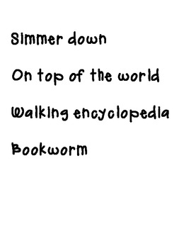 Idioms chart printable