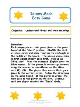 Idioms Made Easy Game (Task Cards with board game)