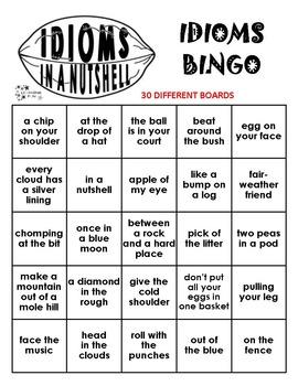 Idioms in a Nutshell Bingo