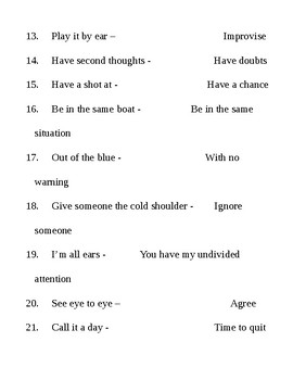 Idioms quiz-quiz-trade