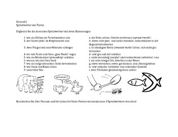 Idioms with Animals - a matching activity (GER 1)