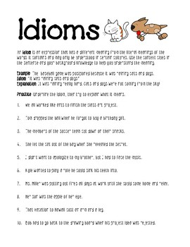 idioms worksheet by lisamillerphotos teachers pay teachers. Black Bedroom Furniture Sets. Home Design Ideas