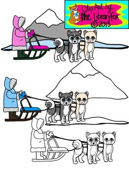 Iditarod Clip Art with blacklines for Personal or Commercial Use