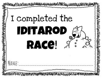 Iditarod Completion Certificate