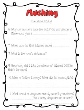 Iditarod Comprehension Packet