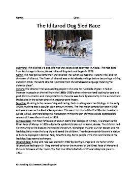 Iditarod Dog Sled Race - Full History Review Questions Information Facts Vocab