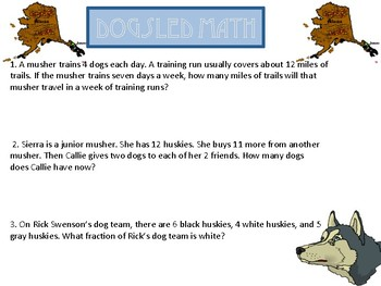 Iditarod Math and ELA Worksheet Packet with Keys