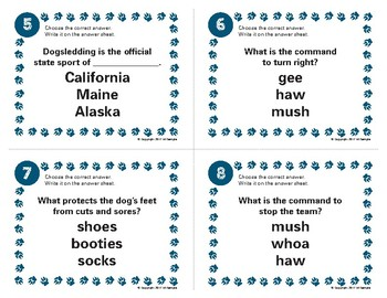 Sled Dog Task Card Set