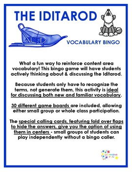 Iditarod Vocabulary Bingo