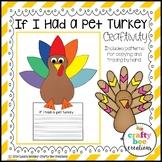 Turkey Craft   If I Had a Pet Turkey Writing Prompts   Thanksgiving Writing