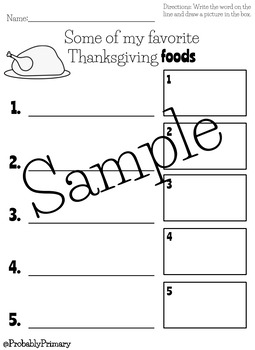 Thanksgiving Work on Writing Activities