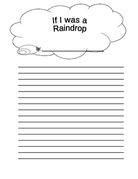 If I Was a Raindrop Writing Prompt Paper