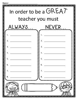 If I Was the Teacher AND If I Was the Principal (4-Page Writing Activity)