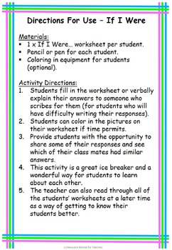 If I Were ... Back to School or End of Year Fun, Printable Worksheet