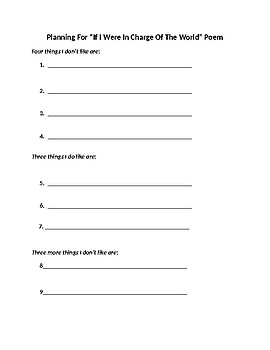 If I Were In Charge Of The World- Creative Poem Writing Activity